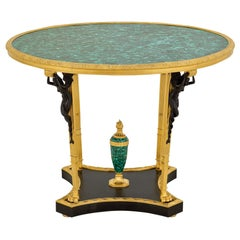 French Neoclassical Malachite & Gilt Bronze Four Winged Maidens Table