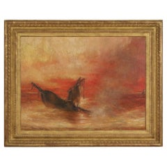 Framed Antique French Oil Painting of a Burning Shipwreck at Sunset