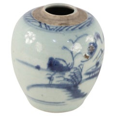 Chinese Off-White and Blue Pastoral Scene Porcelain Jar