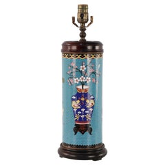 Chinese Teal Cylindrical Patterned Cloisonne Table Lamp