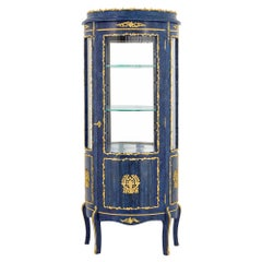 French Empire Style Gilt Lapis One Door Vitrine or Cabinet