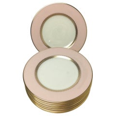 Set of 10 Lenox Caribbee Service Bread Plates with Pink and Gilt Borders