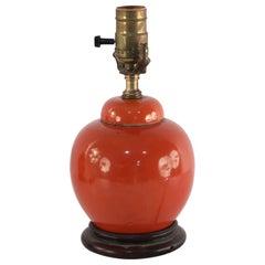 Chinese Orange Luster Porcelain Round Table Lamp