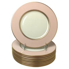 Set of 10 Lenox Caribbee Service Luncheon Plates with Pink and Gilt Borders