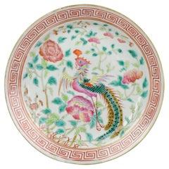 19c Perekanan Straits Nyonya Pink Famille Rose Phoenix Plate Marked