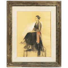 French Pastel Seated Lady Portrait