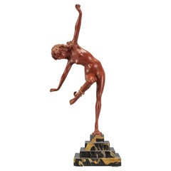 Art Deco Bronze and Marble Sculpture Nude Lady with Snake, The Snake Dancer