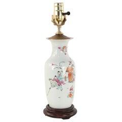 Chinese White Figurative Scene Porcelain Table Lamp