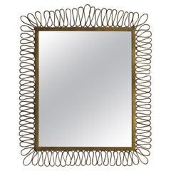 Italian Designer, Modernist Mirror, Brass, Mirror Glass, Italy, 1940s
