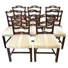 Antique Set of Eight Quality 19th Century Mahogany Ladder Back Chairs