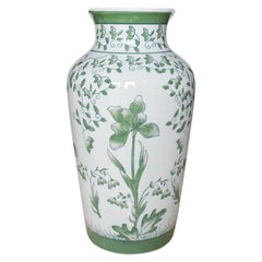 Green and White Chinoiserie Floral Motif Vase