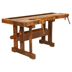 Vintage Carpenters Workbench Rustic Work Table