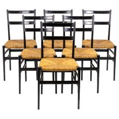 "Gio Ponti, Series of Six Black Lacquered ""Superleggera"" Chairs, 1950s"