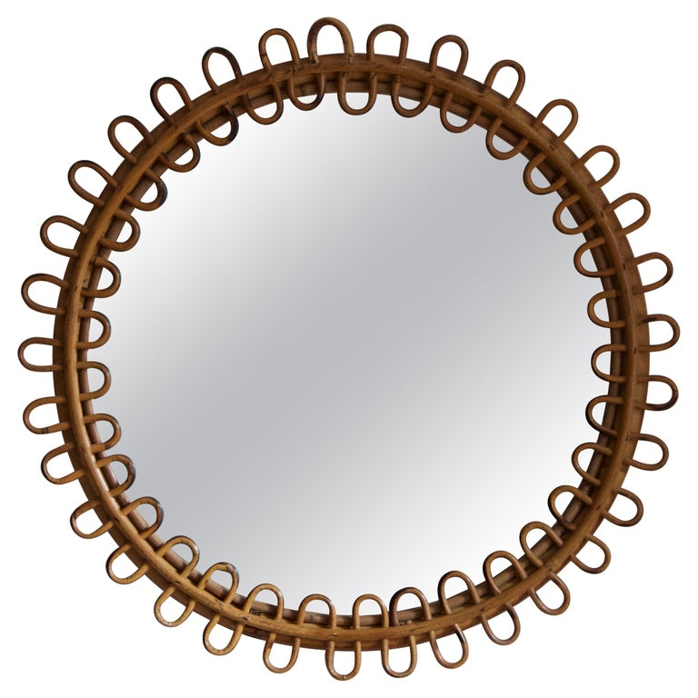 Bamboo and rattan-framed mirror, ca. 1955, offered by Ponce Berga