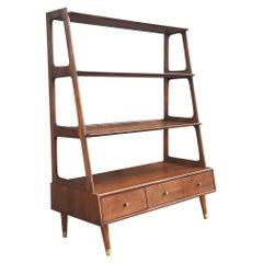 Mid Century Danish Modern Shelving Unit Cabinet or Bookcase in Walnut