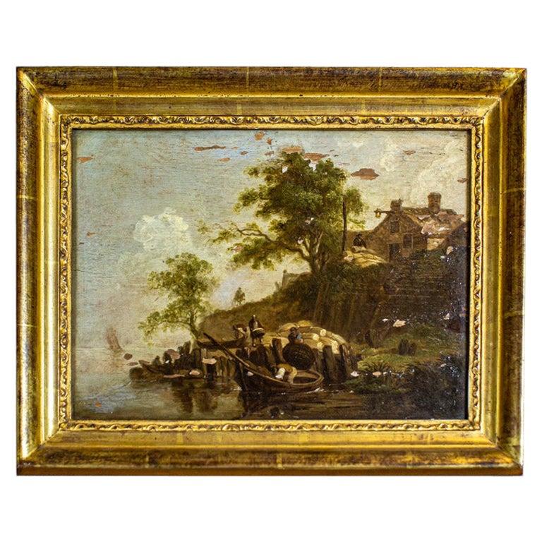 19th-Century Oil Painting on Hardboard