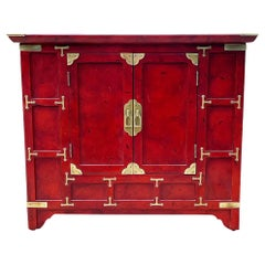 Hollywood Regency Red & Brass Asian Chinoiserie Small Cabinet or End Table