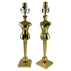 French Mid-Century Tall Brass Gentlemans' Clothier Mannequin Torso Lamps, a Pair
