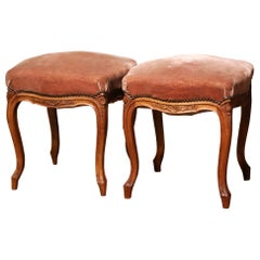 Pair of Early 20th Century French Louis XV Carved Walnut and Velvet Stools