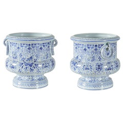 Tiffany & Co. French Mid-Century Blue and White Floral Porcelain Cachepots /Urns