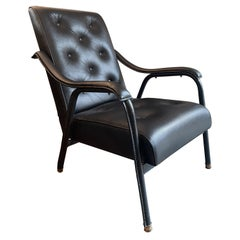 French Mid Century Stitched Leather Armchair