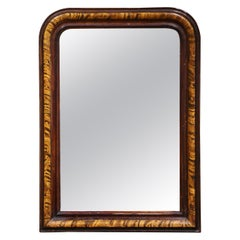 19th Century Louis Philippe Two-Tone Faux Burl Wood Wall Mirror