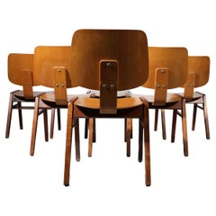 """25 Rare Mid-Century Design Stacking """"Church"""" Chairs Wood Eames Style, '60"""