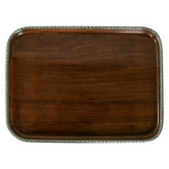 Mid-19th Century French Napoleon III Period Rosewood and Silver Serving Tray