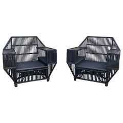 Large Stick Rattan Arm Chairs