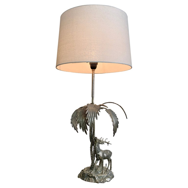 Valenti Stag Silver Table Lamp, 1970's For Sale