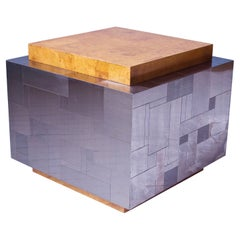 Paul Evans Signed Cityscape Burlwood & Mixed Metal Cube Table, 1975