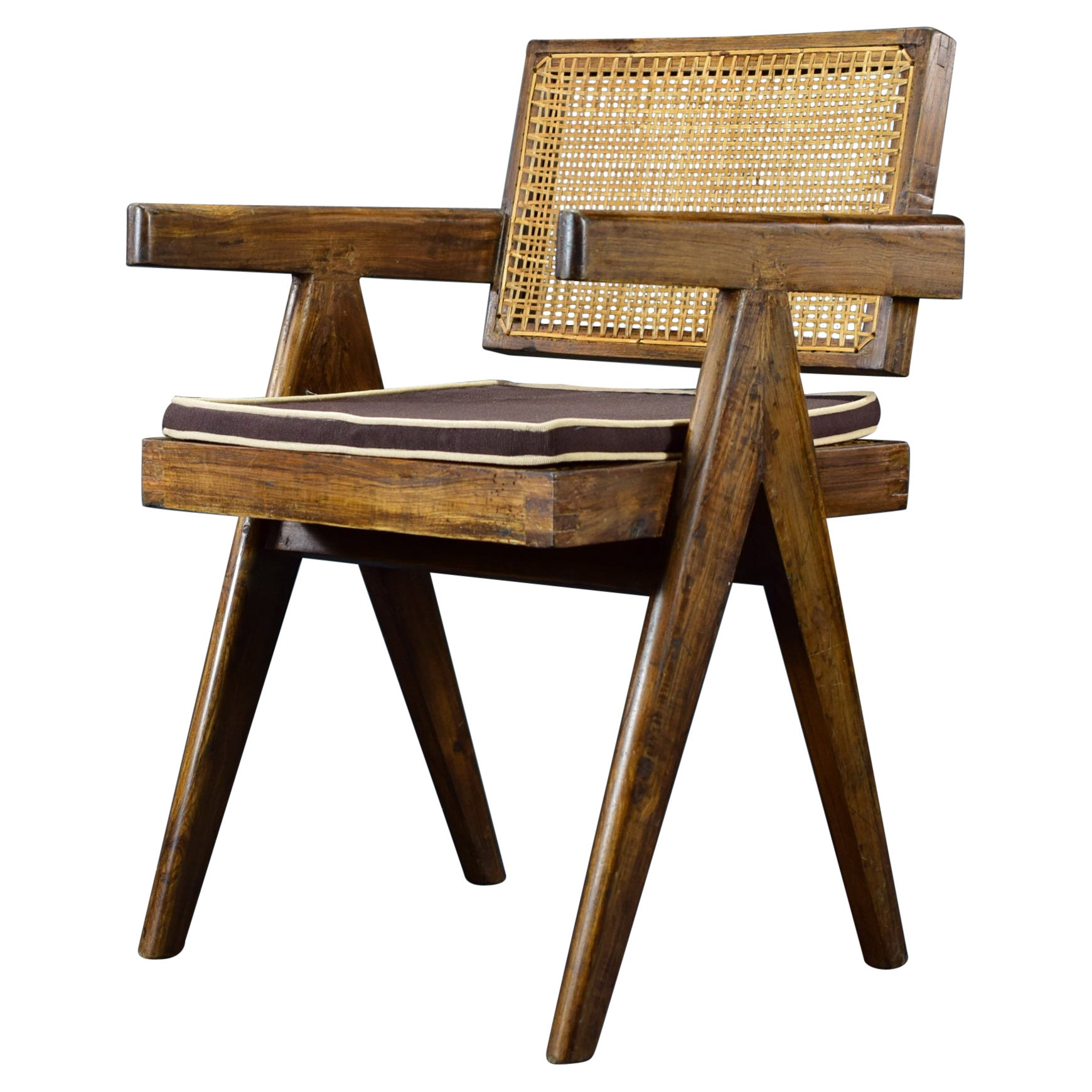 Pierre Jeanneret Office Cane Chair PJ-SI-28-A Authentic Mid-Century Modern