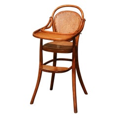 Early 20th Century French Bentwood and Cane High Baby Chair Thonet Style