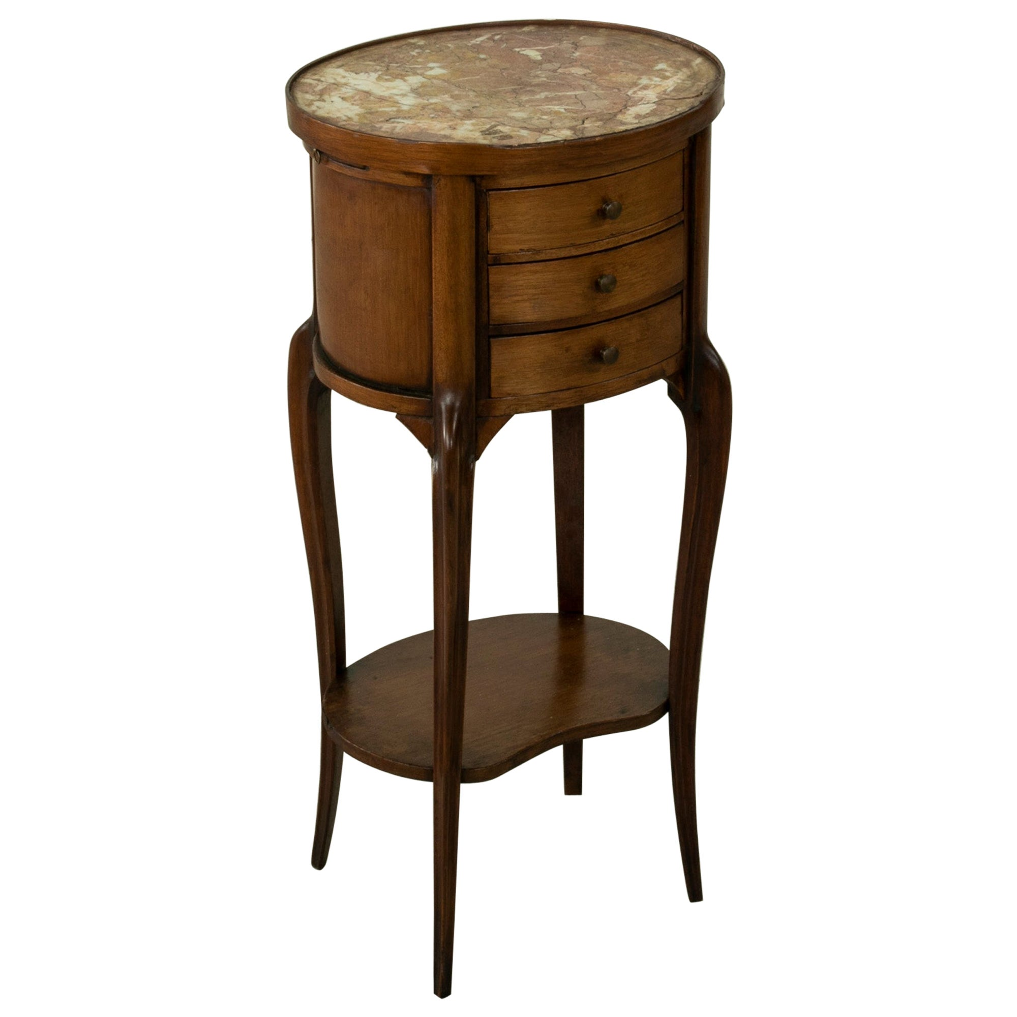 Late 19th Century French Louis XV Style Walnut Side Table with Marble Top