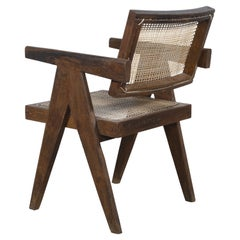 Pierre Jeanneret Office Cane Chair with letters  Authentic Mid-Century Modern