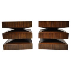 Global Views In and Out Zebra Wood Stacked Square End Tables - a Pair