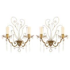 Pair of Maison Bagues French Mid-Century Gilt Metal Wall Sconces