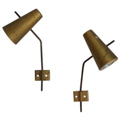 Oscar Torlasco (attributed), Adjustable Wall Lights, Brass, Italy, 1950s