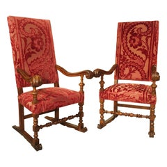 Pair of Italian Armchairs in Carved Walnut with Red Velvet Upholstery, C. 1850