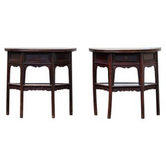 Most Attractive Pair of 18th Century Chinese Demi-Lune Tables