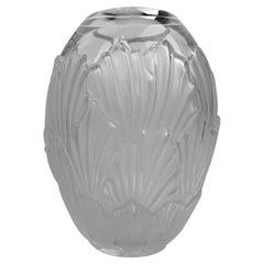 Lalique Frosted Glass Sandrift Vase, Scribe Signed, France