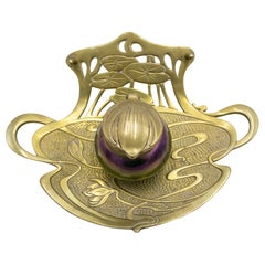 French Art Nouveau Bronze Floral Inkwell