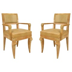 Pair of Andre Arbus French Mid-Century Sycamore and Leather Armchairs