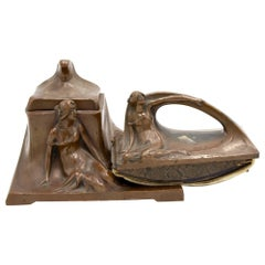 2-Piece French Art Nouveau Copper Inkwell