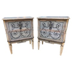 Pair of Italian Painted Neo-Classical 2 Drawer Bed Side Tables