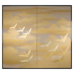 Japanese Two Panel Screen Cranes in Flight over Golden Clouds on Paper