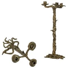 Pair of Vintage Cast Bronze Candlesticks