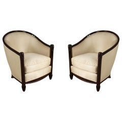 Pair of French Mid-Century Carved Wood and Beige Satin Tub Armchairs