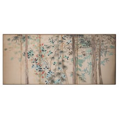 Japanese Six Panel Screen Various Trees in a Garden Landscape