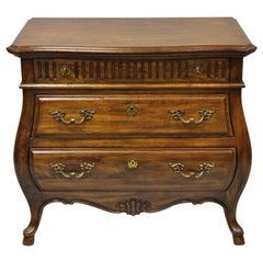 Drexel Grand Villa 3 Drawer Oak Bombe Commode Chest Nightstand Dresser